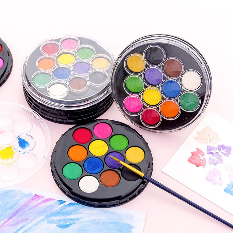 Professional 12/24 Colors Solid Watercolor Paint Set Travel Water Color Pigment Painting Art Supplies