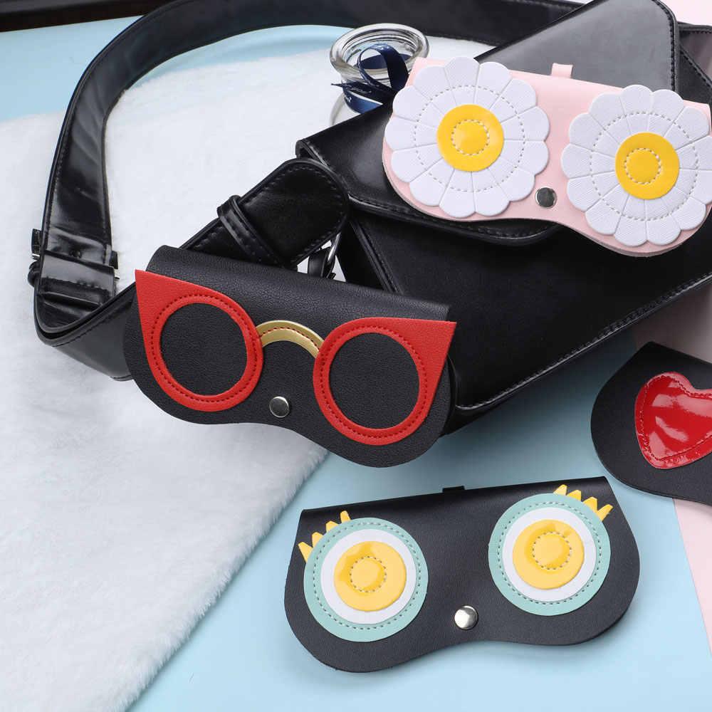 Naloain óculos de sol caso feminino couro do plutônio bonito dos desenhos animados óculos de olho saco de proteção de armazenamento óculos de sol caixa
