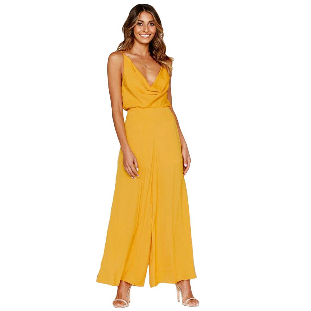 New Fashion Women Casual Spaghetti Straps Solid Wide None Legs Jumpsuit V-neck Full Length(China)
