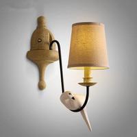 Amerikaanse Dorp Eenvoudige Tuin Woonkamer Slaapkamer Ijzer Vogels Wandlamp Creatieve Persoonlijkheid Nachtkastje Doek Art LED Wandlampen