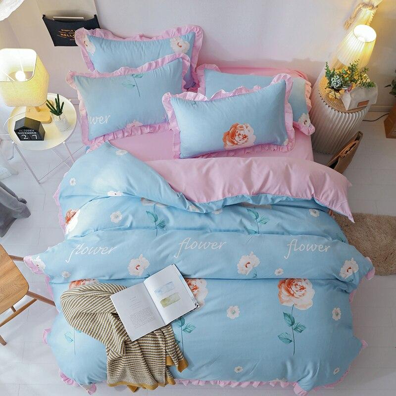 Floral Bedding Queen Size Kids Bedding Set Girls Home Textile 4pcs