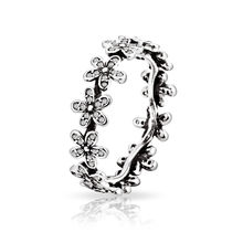 High Quality 100% 925 sterling Silver Wedding Rings with Full Crystal Flower Women Ring Compatible with Pandora Jewelry R09