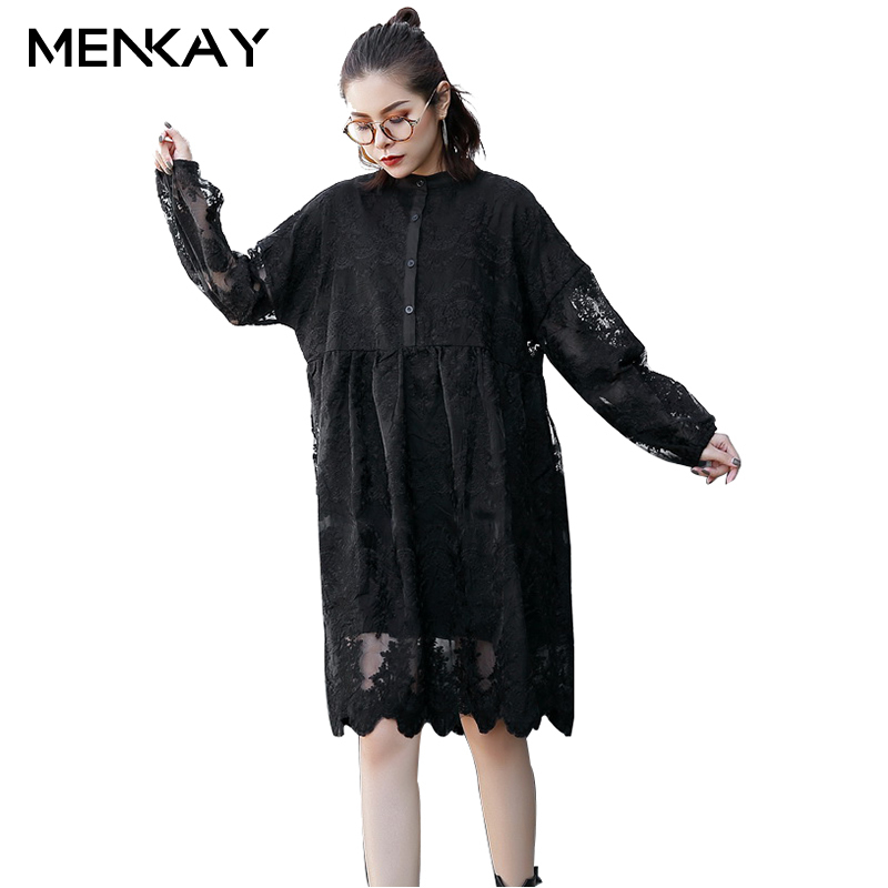 [MENKAY] New Set Up Collar Long-sleeved Dress Female Winter Fat MM Loose Long Paragraph European Root Yarn Women's Dresses