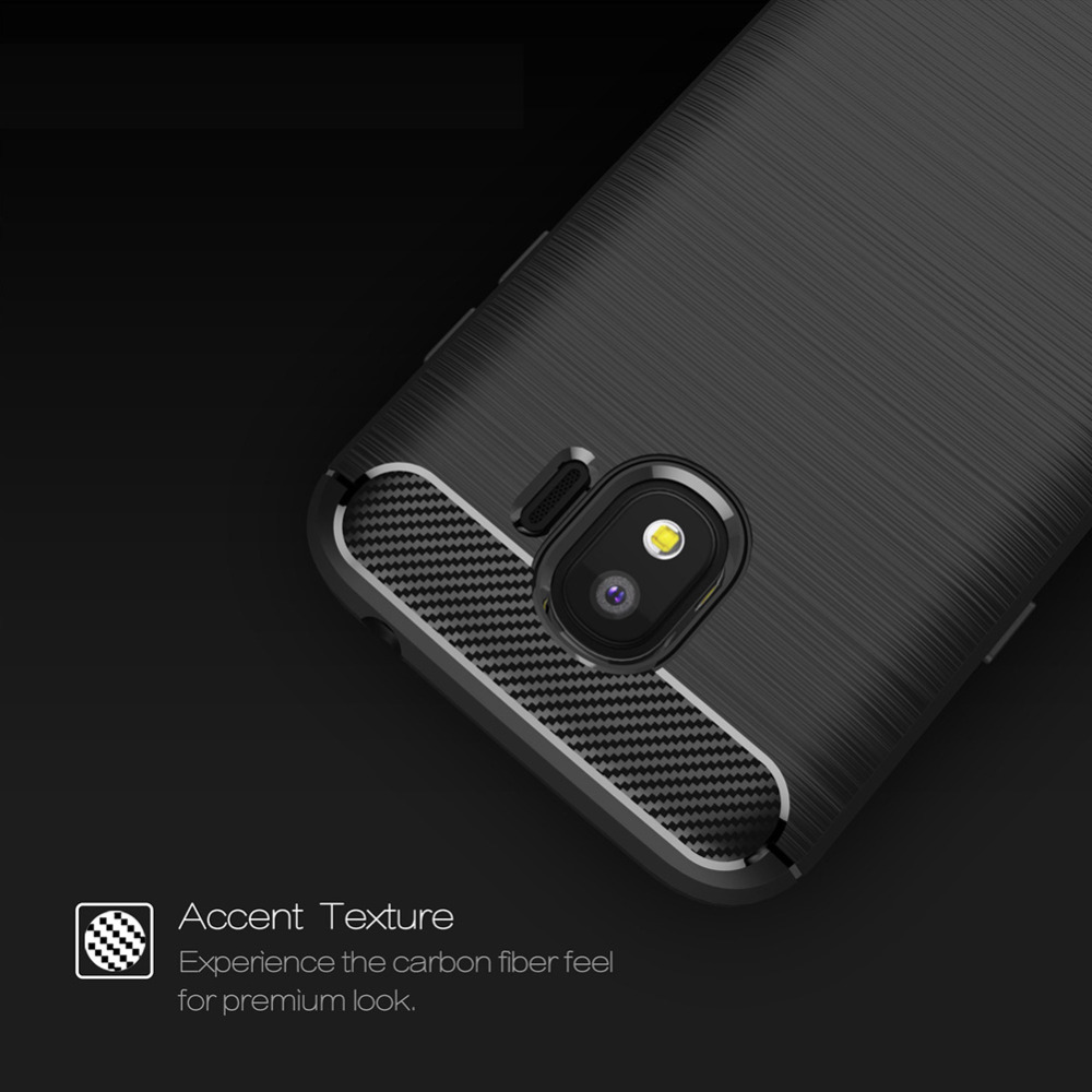 3D Carbon Fiber Soft TPU Phone Cover Case for Samsung Galaxy J2 Pro (2018), ShockProof Anti-Slip Protective Back Cover