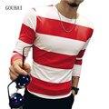 2017 Nova Primavera Dos Homens Camiseta de Algodão Completo Manga Plus Size M-4XL 5XL Moda Outono O Pescoço Casual Masculino Slim Fit Striped T camisa