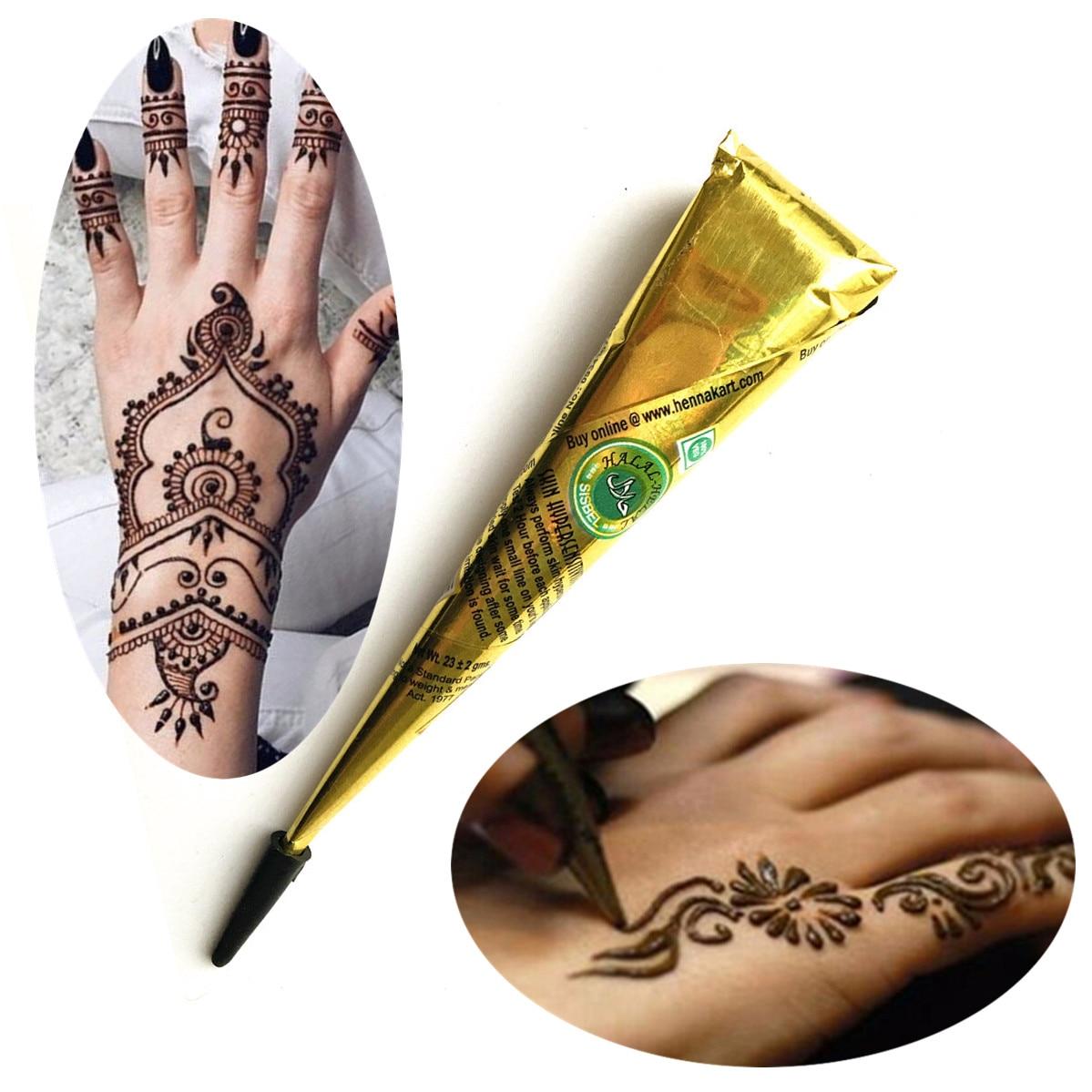 Лидер продаж коричневые чернила Цвет индийская хна Татуировка Вставить конический Для женщин пикантные Макияж татуировки для Средства ухо...