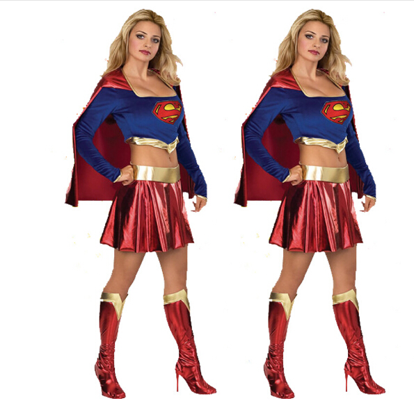 Free shipping Supergirl Adult Women Costume Women sexy top+dress fancy halloween costumes Sexy Super Hero Adult Women Costume