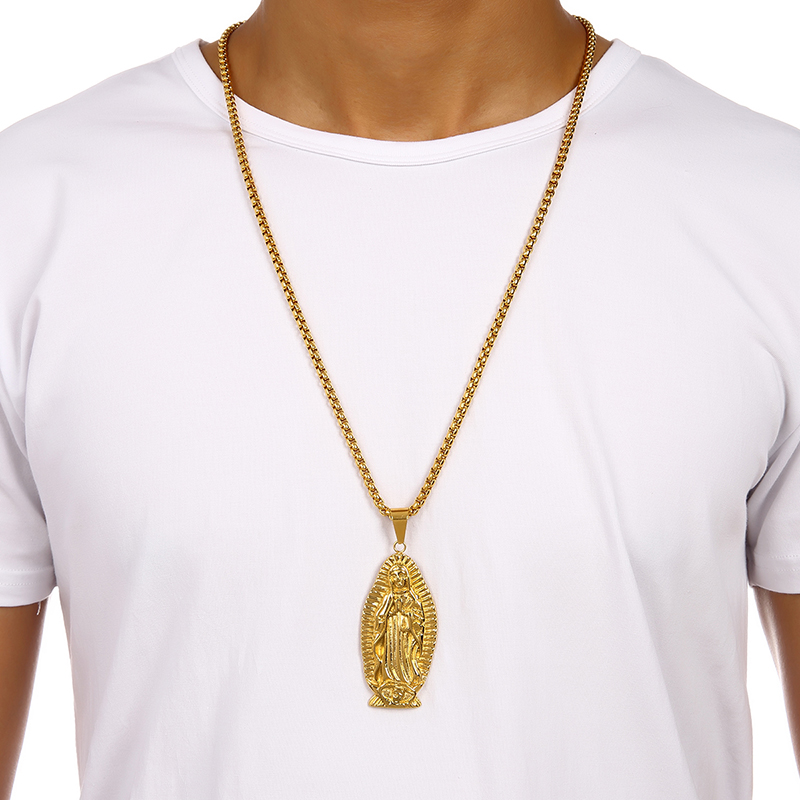 2016 new design gold virgin mary pendant necklace steel religious 2016 new design gold virgin mary pendant necklace steel religious mother mary christian necklaces hip hop jewelry for menwomen in pendant necklaces from aloadofball Image collections