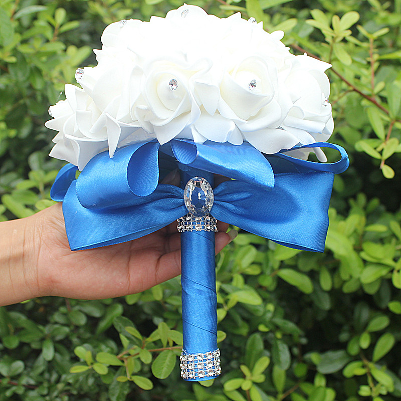 IN STOCK Cheapest PE Rose Bridesmaid Wedding Foam flowers Rose Bridal bouquet Ribbon Fake Wedding bouquet de noiva 14 Color 4