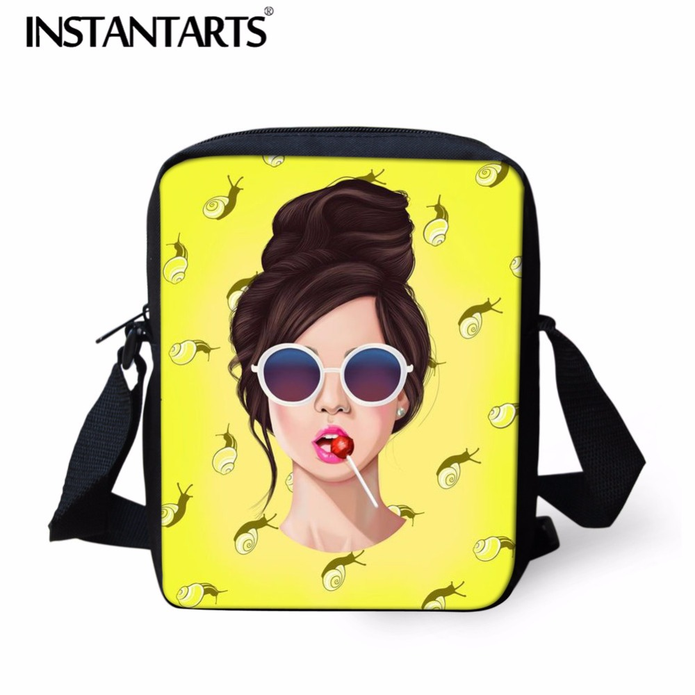 INSTANTARTS Tote-Bag Satchel Messenger-Bag Pocket Girl Mini Women's Cartoon Ladies Print
