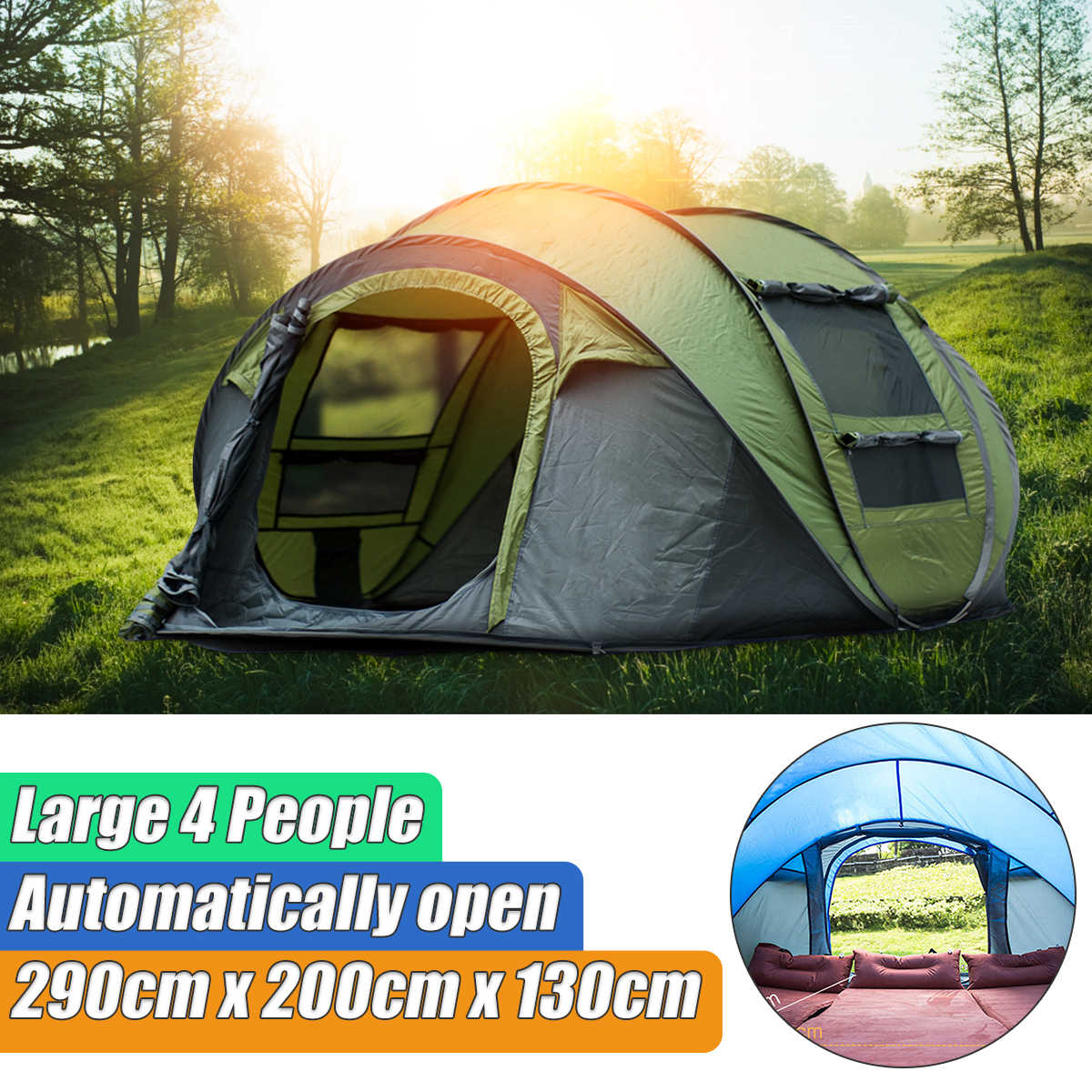 8176431ed03 Waterproof Instant Pop Up Tent Set-Up 3-4 Person Waterproof UV Protect  Camping