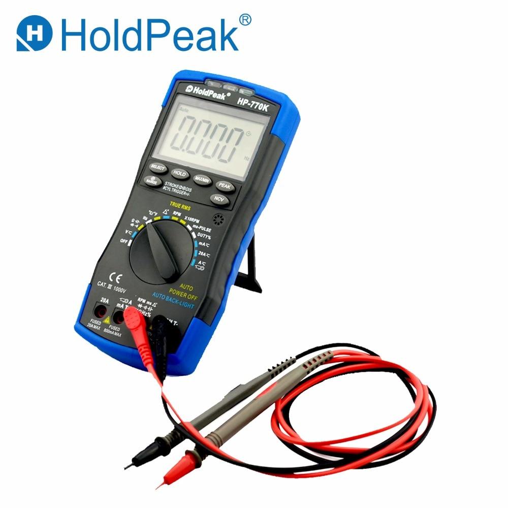 все цены на HoldPeak HP-770K Digital Automotive Multimeter Engine Analyzer Handhold Tester AC/DC Voltage Current Frequency NCV Tester онлайн