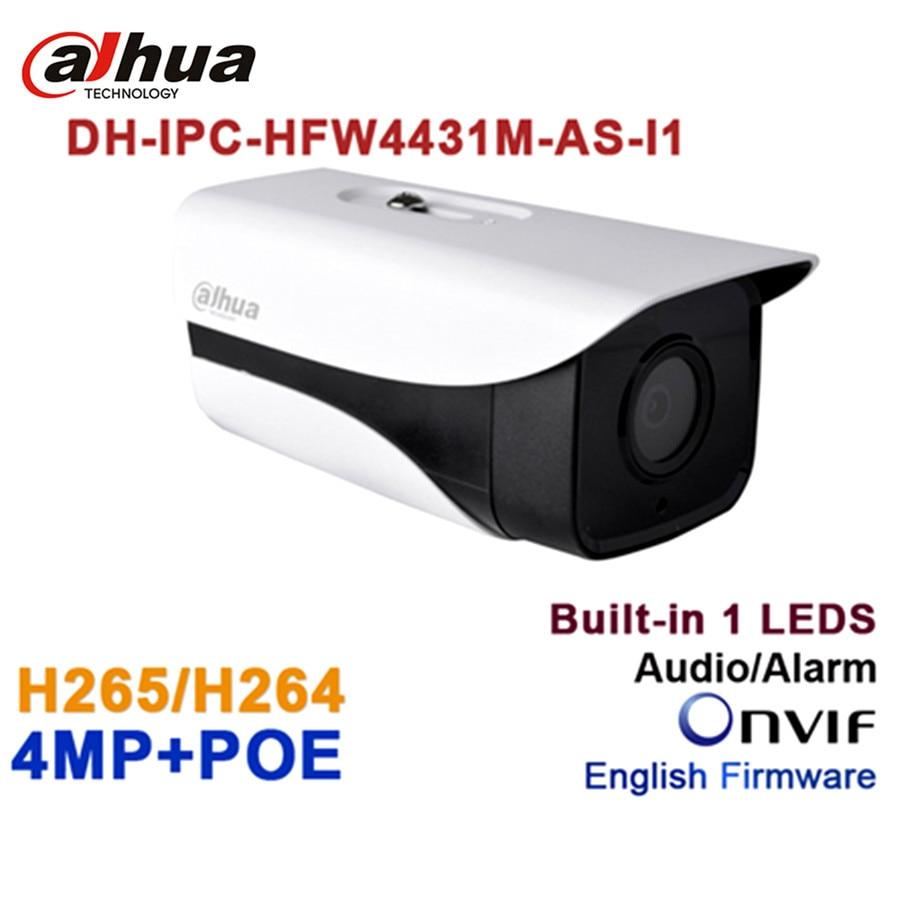 Dahua 4MP PoE IP Camera IPC-HFW4431M-AS-I1 HD IR H.265 WDR Audio SD card Outdoor Night Vision Surveillance Bullet CCTV Camera wholesale dahua dh ipc hdbw4233r as 2mp ir mini dome network ip camera ir poe audio sd card stellar h265 h264 ipc hdbw4233r as