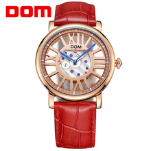 DOM Women Watches Waterproof Stylish Ladies Leather Hollow Transparent Dial Display Quartz Wristwatch Casual Accessory