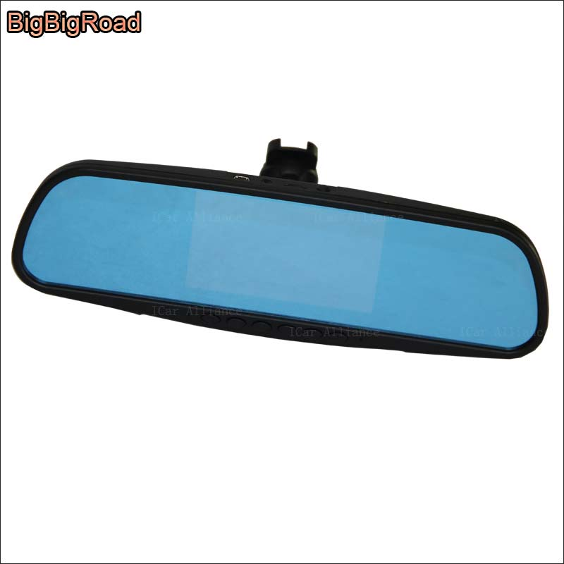 BigBigRoad Dual Lens Car Mirror Camera DVR For subaru tribeca Forester Blue Screen Video Recorder Dash Cam Parking Monitor bigbigroad for vw tiguan routan car dvr blue screen dual lens rearview mirror video recorder 5 inch car black box night vision
