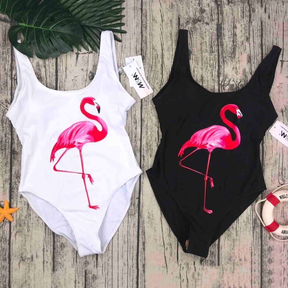 M & M de baño 2018 mujeres de una sola pieza traje de baño pájaros verano impreso traje de baño