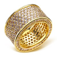 Luxurious Jewelry Paragraph 925 Silver Gemstone Rings Finger Shining 320pcs Full Simulated Diamond Gold Ring for Women Men