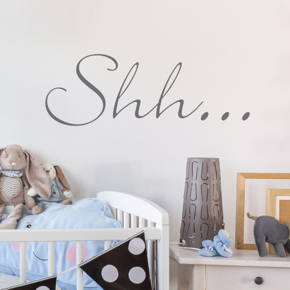 Shh quotes wall stickers for kids rooms baby bedroom wall - Childrens bedroom wall stickers removable ...
