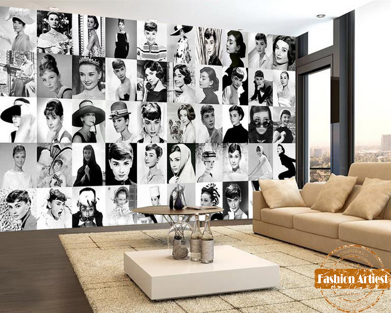 Custom Vintage Star Wallpaper Mural 50 Classic Audrey Hepburn Movie Photo Collection Black & White Sofa Bedroom Living Room Bar