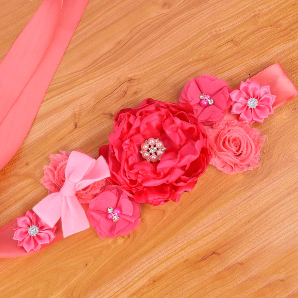Hot Pink Floral Maternity Sash Pregnancy Belly Belt Baby Shower Party Photo Prop Baby Belly Belt Wedding Fancy Waistband