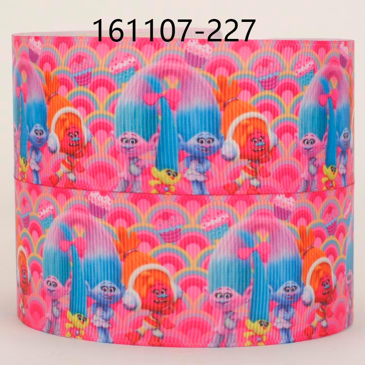 38 mm-UK 1 M X Pretty Trolls gros-grain Ribbon Craft Hair Bow gâteau Craft