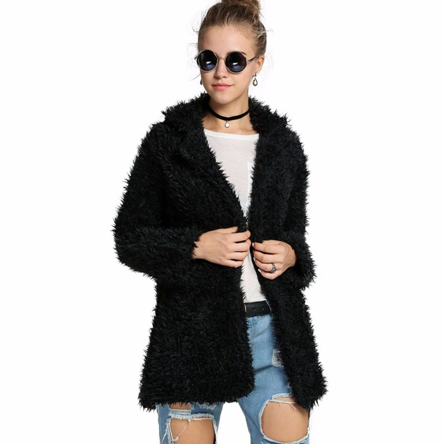 Nuevo Invierno Cálido Casual Parka Manga Larga Básica Faux Fur Coat Mujer prendas de Abrigo Cazadora Abrigo Señora Traje Manteau Femme