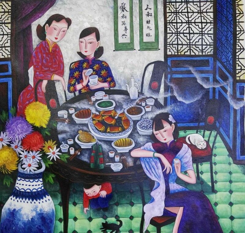 Pintado a mano de alta calidad lienzo pintura estilo chino figura - Decoración del hogar