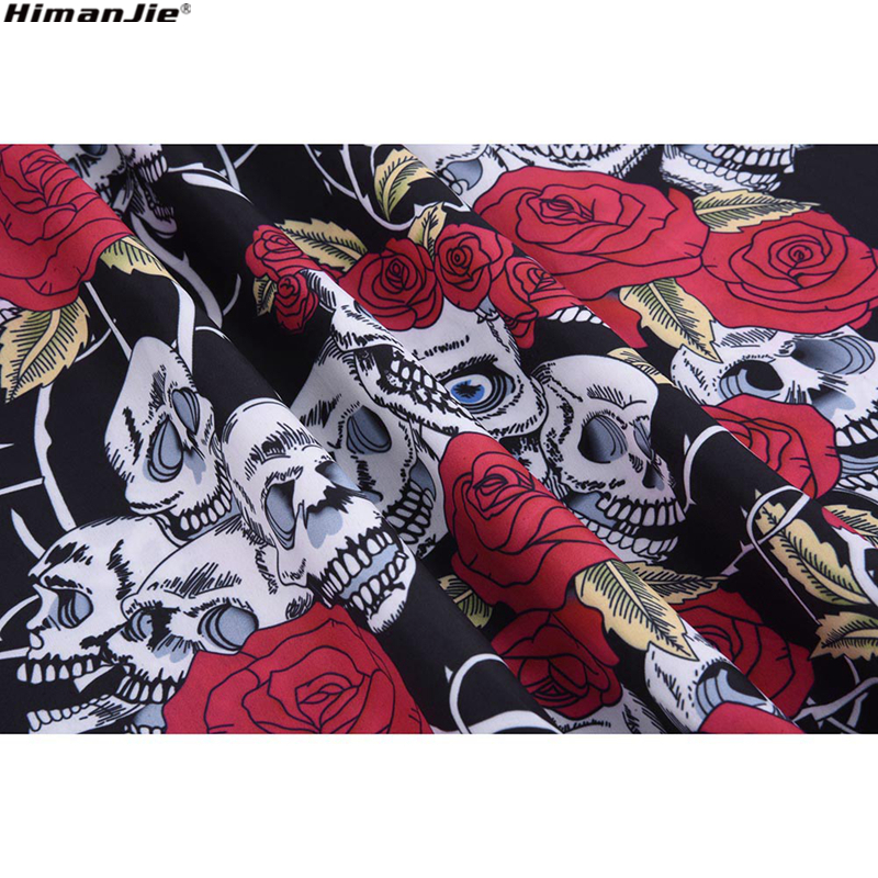 HimanJie Retro Vintage Style Sleeveless 3D Skull Floral Printed 2018 Summer Women Dress Halter Plus Size Party Sexy Casual Dress 3