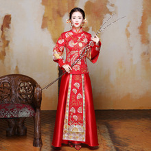 China Traditional Dress Wedding Qipao Red Long Sleeve Cheongsam Embroidery Bride Chinese Style Dress Wholesale Size S TO XL