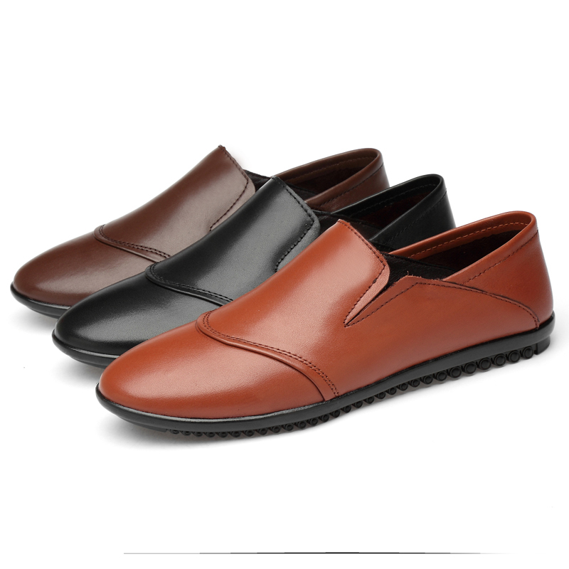 19 Unisex Style Adult Brand Fashion Shoes High Top Quality Full Genuine Leather Men Loafers Soft Fla