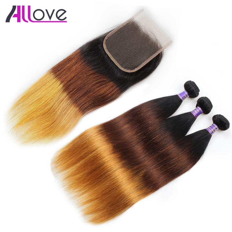 Allove Hair Ombre Brazilian Straight Hair 3 Bundles Ombre Human Hair With Lace Closure 1B 4