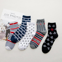 5Pairs/lot Stripe Anchor Mens Socks Crew Cotton Ankle Casual Sport Funny Men Breathable Chaussette Homme