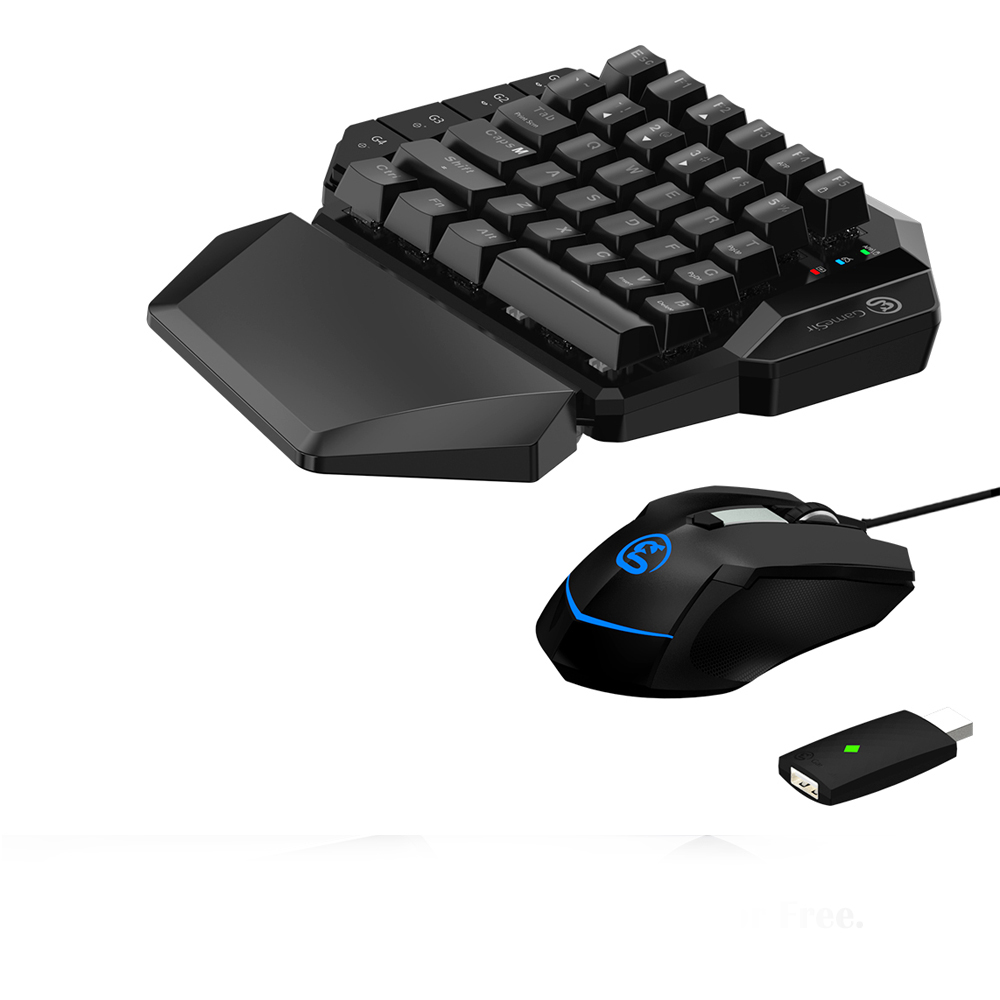 GameSir VX Single Hand 2 4G Wireless Bluetooth Gaming Keyboard with Adjustable DPI Wired Mouse For