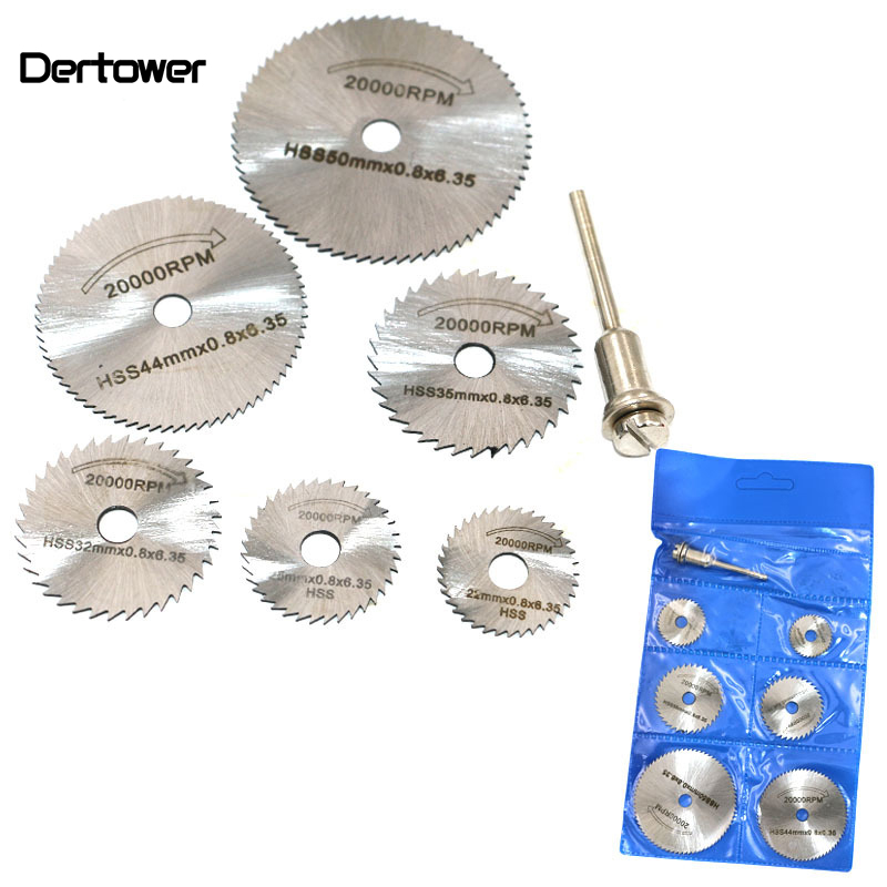 6PCS HSS Rotary Tool 22 /25 /32 /35 /44 /50mm Circular Saw Blades Cutting Discs Mandrel For Dremel Cut Off  DT6