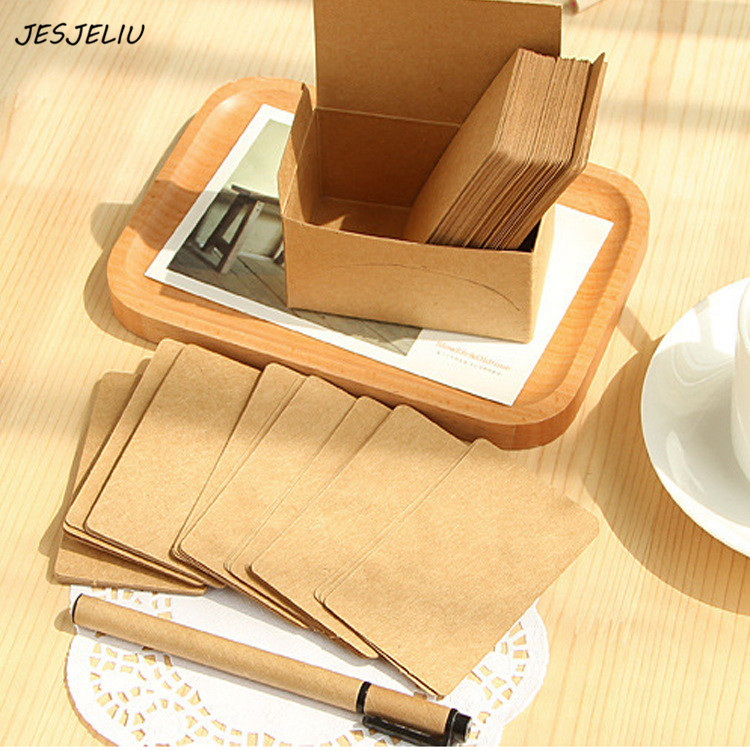 100pcs/pack Kraft Paper Writing Memo Pads Notepad Business Cards Stationery Recite Word Cards School Office Suppliy