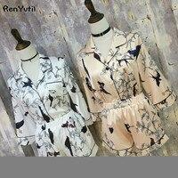RenYvtil High-end Printing Silk Pyjamas 2 Pics Shorts Set Women's Pajamas Pink Print Sleepwear Home Suit Summer Satin Nightwear