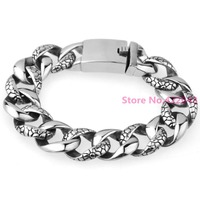 Heavy 18mm Huge 316L Stainless Steel Bracelet Silver Single Curb Cuban Link Chain Mens Boys Fashion
