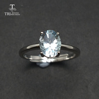 Tbj ,Cute simple small ring with natural aquamarine gemstone Ring in 925 sterling silver fine jewelry for girls & women as gift