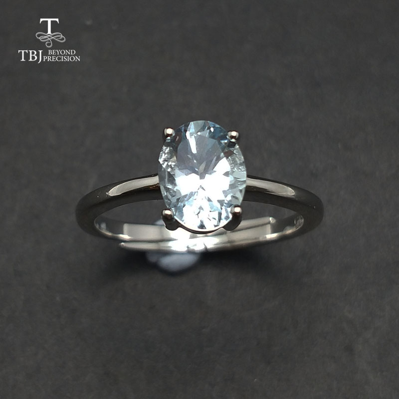 Tbj ,Cute simple small ring with natural aquamarine gemstone Ring in 925 sterling silver fine jewelry for girls & women as gift tbj delicate small ring with natural good color blue tanzanite gemstone lady ring in 925 sterling silver fine jewelry for women