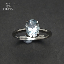 Tbj ,Cute simple small ring with natural aquamarine gemstone Ring in 925 sterling silver fine jewelry for girls & women as gift tbj natural ruby gemstone simple