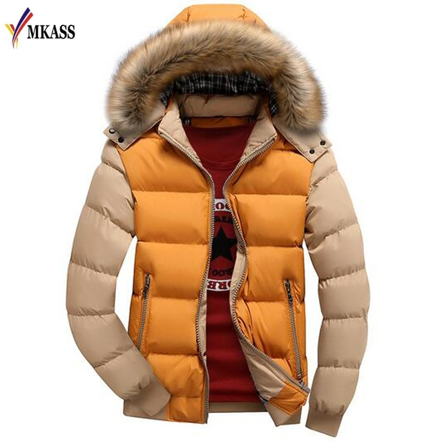 New Fashion Patchwork Color Hooded Design Men Parka Size S-4XL Casual Men's Winter Jacket Stand Collar Thick Man Jacket