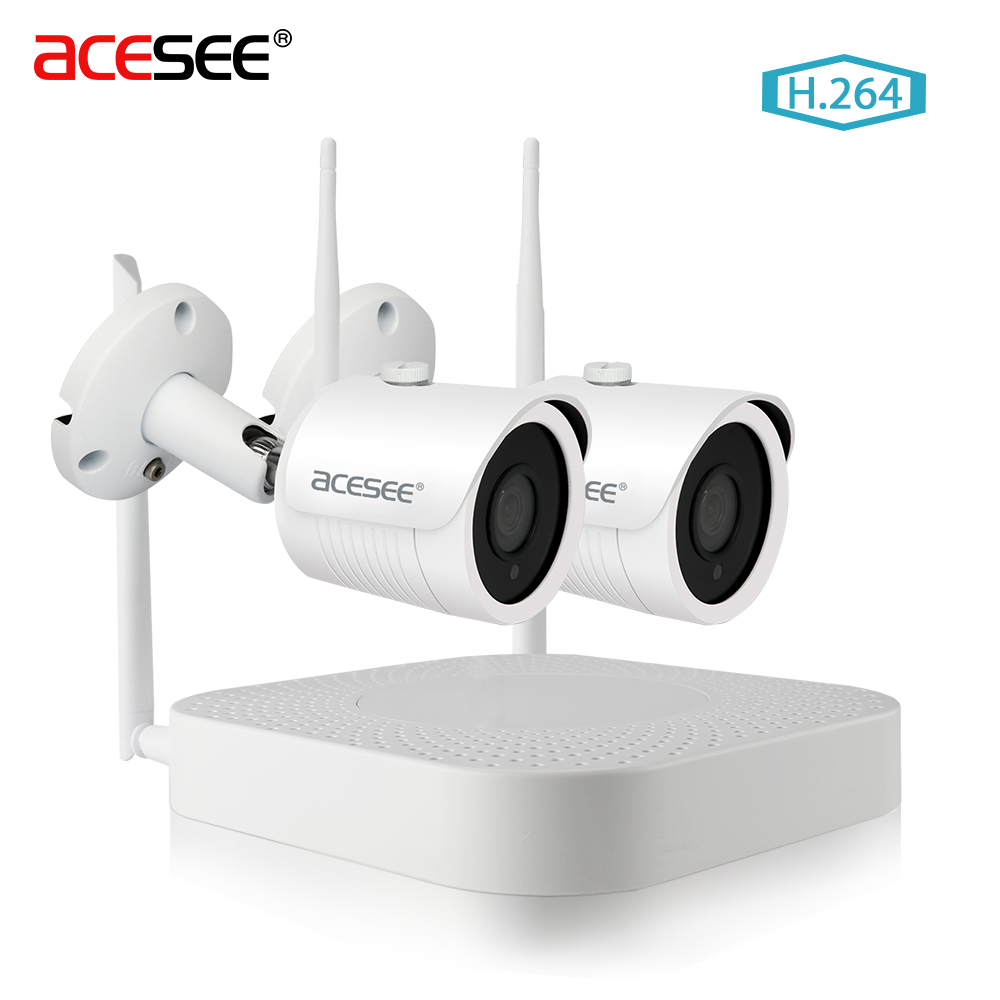 Acesee 4ch 1080p Wifi Nvr 2ch 720p Ip Camera Outdoor Cctv