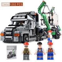 1202PCS Container Truck Vehicles Car Building Blocks Compatible legoingly Technic Car DIY Bricks Educational Toys for Children