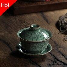 Chinesischen Longquan Celadon Porzellan Gaiwan China Teetassen und Tee Schüssel Ceramic150ml Knistern Glasur Tee Topf Porzellan Schüssel