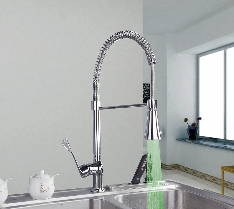 Contemporary Solid Brass Spring Kitchen Faucet Tap Mixer with Color Changing LED Light JN8088