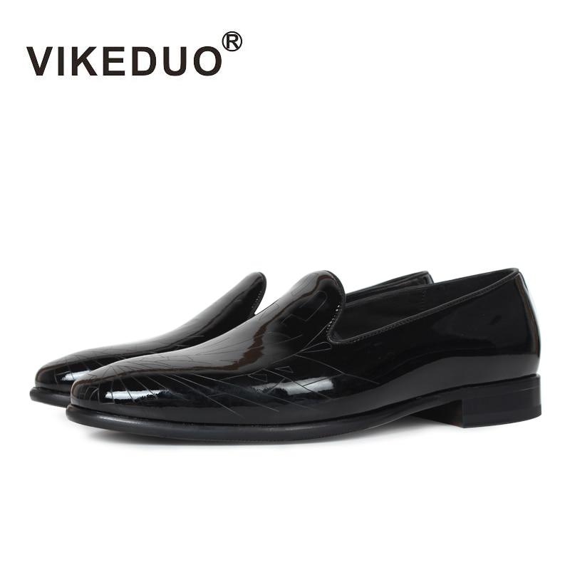 2019 هرع Vikeduo اليدوية الكلاسيكية الرجال متعطل 100% جلد طبيعي حذاء كاجوال الفاخرة فساتين راقية حزب التصميم الأصلي-في أحذية رجالية غير رسمية من أحذية على  مجموعة 1