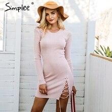 Simplee Кружева Up Skinny вязаный свитер платье элегантные женские Сплит тянуть вязать зимнее платье 2017 Осень джемпер Vintage пуловер