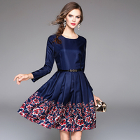 2017 Womens Autumn Dresses W/Belt Plus Size Mini Dress Long Sleeves Retro Flower Printed Blue Feminino Vestidos de Festa N611B