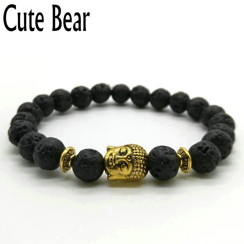 Cute Bear Brand Antique Gold Buddha Bracelet Charm Black Matte Stone Lava Rock Beaded Bracelet Men Women Jewelry