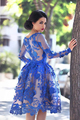 2016 New Sexy Royal Blue knee length see through Long Sleeves Luxury Lace Short Cocktail Dresses Party Dress Custom made